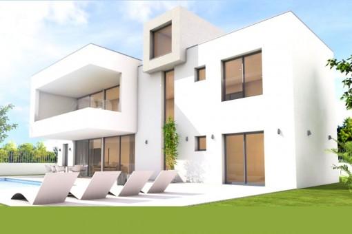Außenansicht der minimalistischen Villa mit Garten und Pool