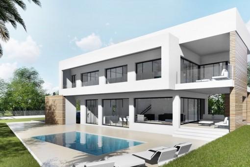 Moderne Neubauvilla mit Blick auf die Bucht von Palma