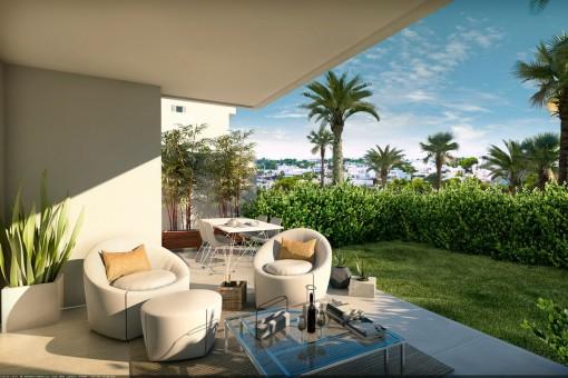 Schöne Terrasse und Garten mit gemütlichem Lounge- und Sitzbereich