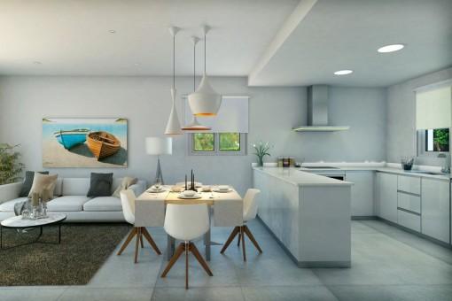 Moderner Wohn-und Essbereich mit offener Küche