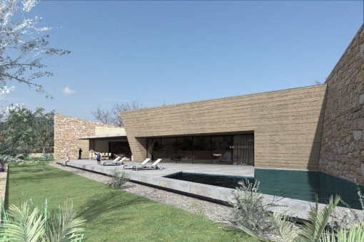 Geplantes Haus mit Pool