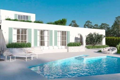 Spektakuläre Beachhouse-Villa in Son Caliu mit Teilmeerblick