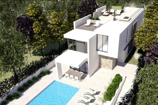 Moderne Neubauvilla mit mallorquinischen Details in der Nähe von Port Adriano