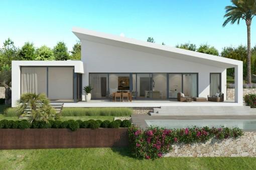 Die Villa bietet große Terrassen und einen schönen Poolbereich