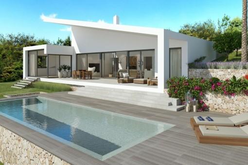 Moderne Neubauvilla auf einer Ebene in Cala Vinyas