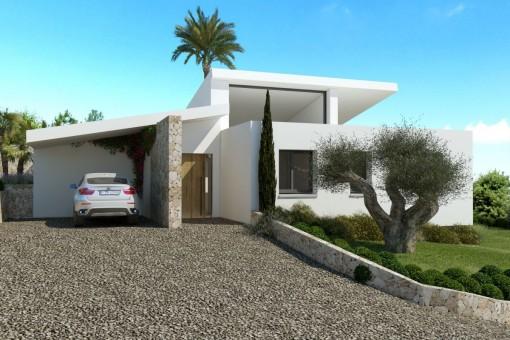 Zugang zur Villa mit mediterranen Garten und Carport