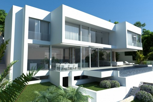 Neubauvilla in Hanglage mit beeindruckendem Meerblick in Costa d'en Blanes