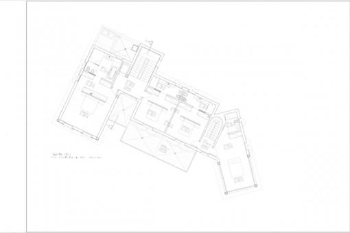 Bauzeichnung der oberen Etage