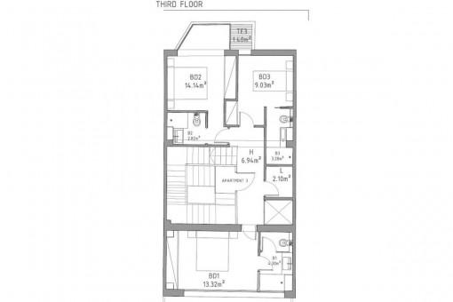 Bauzeichnung des vierten Stockwerks