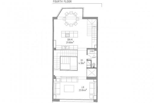 Bauzeichnung des dritten Stockwerks
