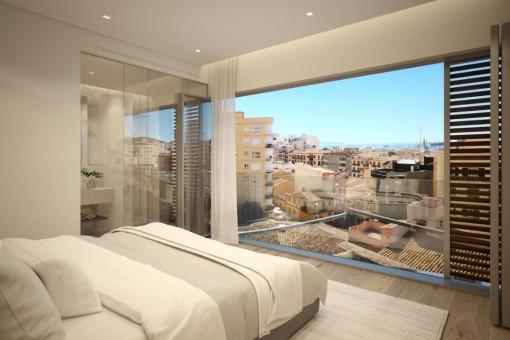 Komfortables Schlafzimmer mit Blick über Palma