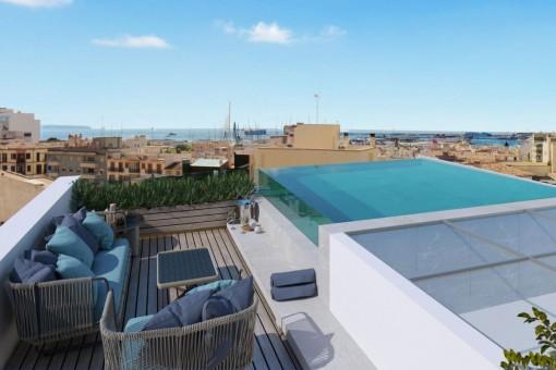 Exklusives Duplex-Apartment mit Dachterrasse, Pool und Meerblick in Santa Catalina