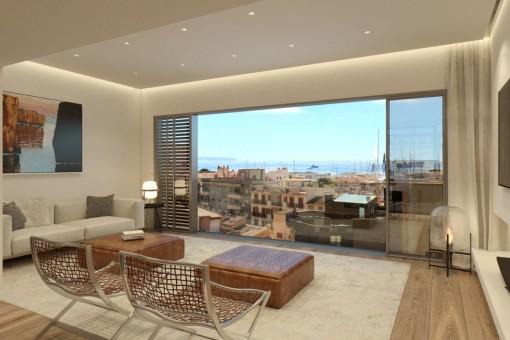 Eleganter Wohnbereich mit großer Fensterfront