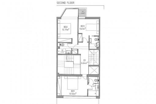 Bauzeichnung des oberen Stockwerkes