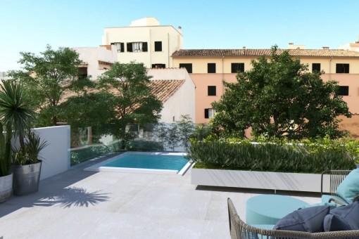 Exklusive Duplex-Wohnung mit Pool in Santa Catalina