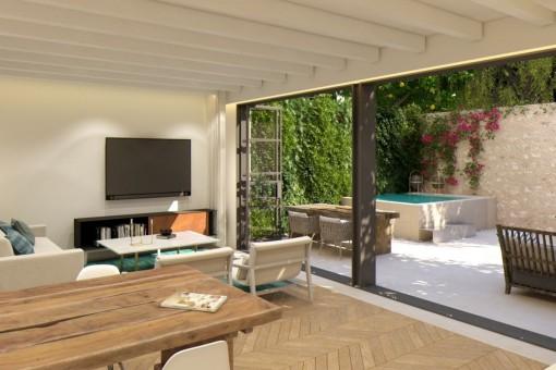 Tolle, frisch renovierte Duplex-Wohnung mit Patio und kleinem Pool in Santa Catalina
