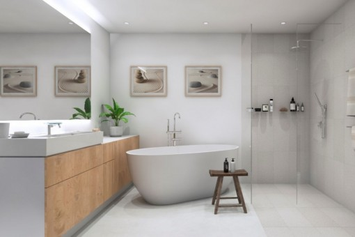 Luxuriöses Badezimmer mit Badewanne und Dusche