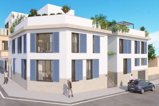 Zentrumsnahes Neubau-Reihenhaus mit Dachterrasse und Pool in Son Espanyolet