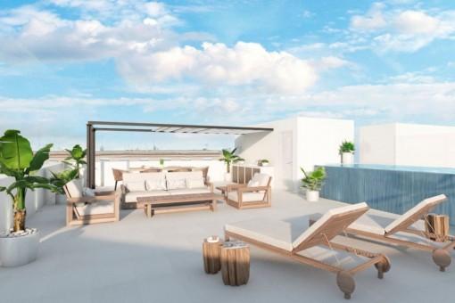 Wundervolle Dachterrasse mit verschiedenen Loungebereichen