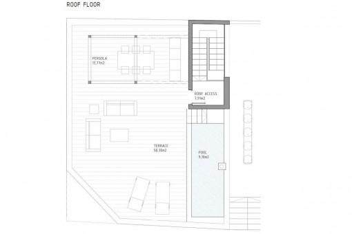 Bauzeichnung von der Dachterasse