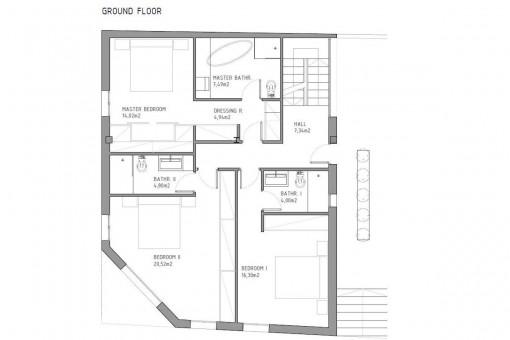 Bauzeichnung für das Erdgeschoss
