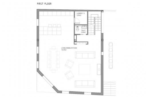 Bauzeichnung für das erste Stockwerk