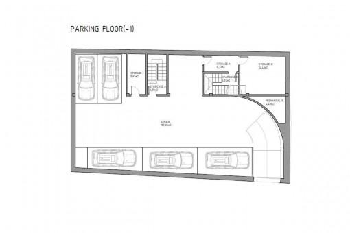 Bauzeichnung der Parkfläche