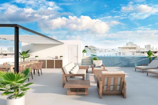 neubau reihenhaus in son espanyolet mit kleinem garten und toller dachterrasse mit pool kaufen. Black Bedroom Furniture Sets. Home Design Ideas