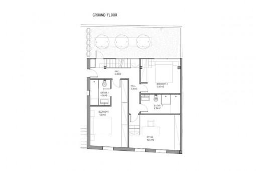 Bauzeichnung des Erdgeschosses