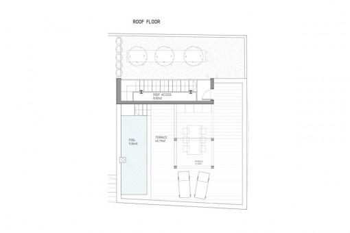 Bauzeichnung der Dachterrasse
