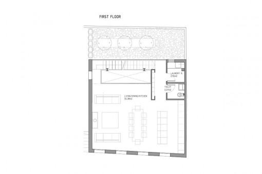Bauzeichnung des ersten Stockes