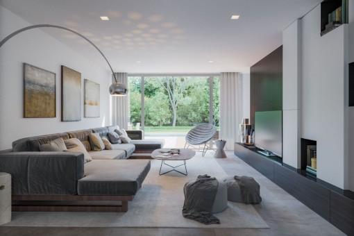 Stylisher Wohnbereich mti großem Sofa