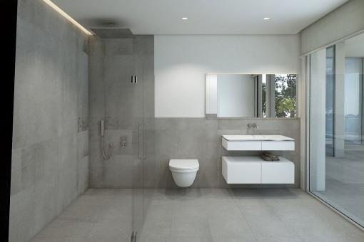 Elegante, ebenerdige Dusche