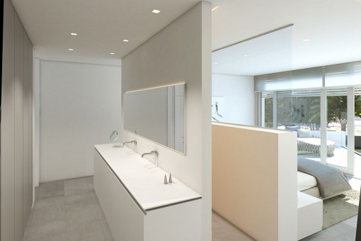 Badezimmer en Suite des Gästezimmers