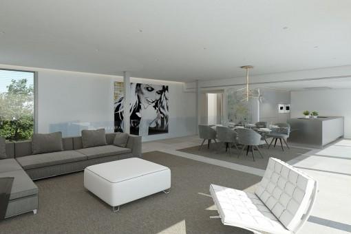 Loungebereich mit großen Sofas