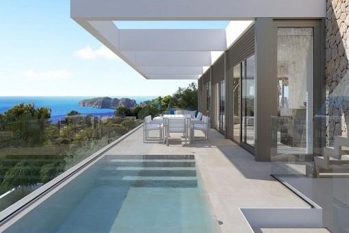 Moderne Villa mit atemberaubenden Meerblick in Nova Santa Ponsa