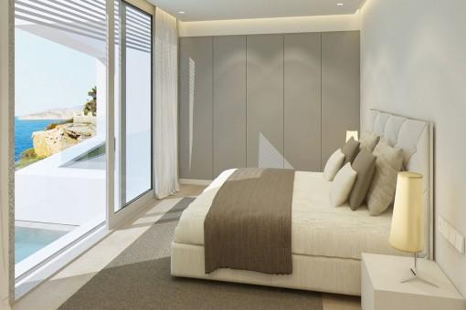 Helles Schlafzimmer mit großer Fensterfront