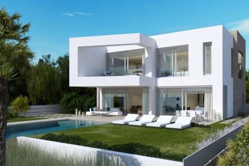 Die Villa hat einen schönen Garten mit Infinitypool