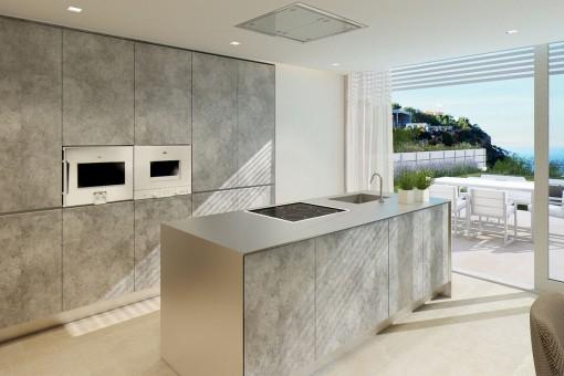 Luxuriöse Küche mit Kochinsel