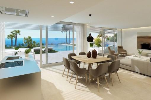 Der Wohn-und Essbereich bietet Zugang zur fantastischen Terrasse