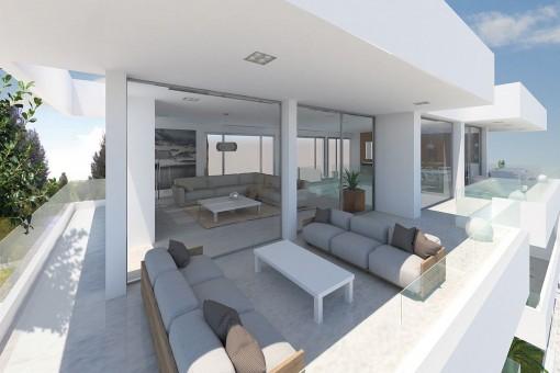 Überdachter Chill-out Bereich auf dem Balkon