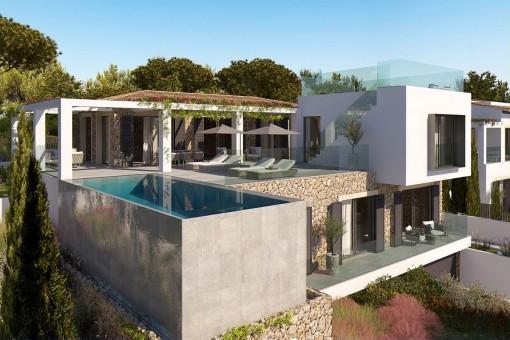 Grundstück in Santa Ponsa mit einem Bauprojekt für eine moderne Villa mit Meerblick