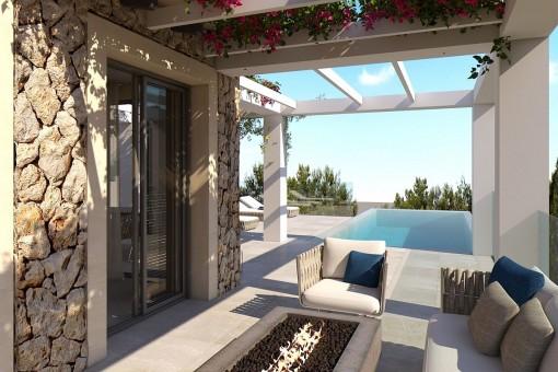 Wundervolle Terrasse mit Loungebereich und Pool