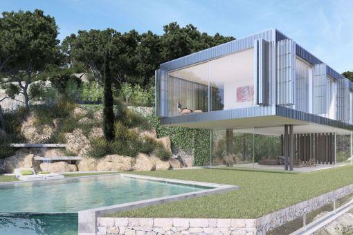 Großflächiger Garten mit überdachter Terrasse