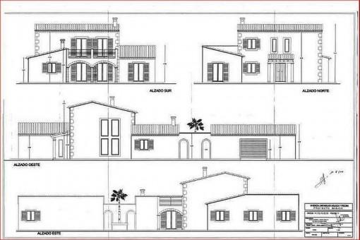 Bauzeichnung der Villa