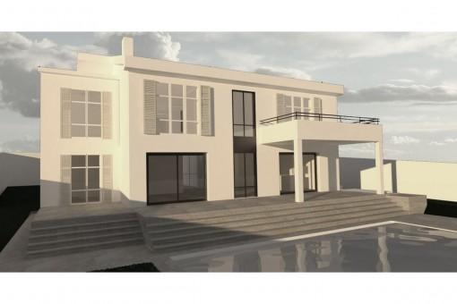 Villa im Beachhouse-Stil mit Meerblick in Santa Ponsa
