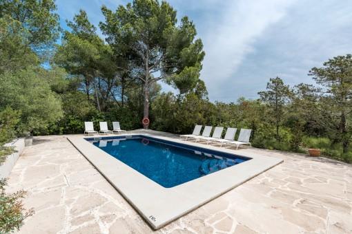 Sonniger Poolbereich mit Sonnenliegen