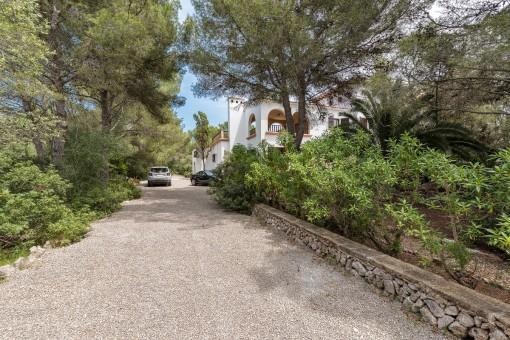 Naturbelassene Zufahrt zur Villa