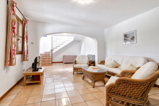 Der Wohnbereich im Erdgeschoss ist ideal für Gäste