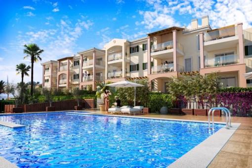 Schönes Neubauapartment in luxuriöser Anlage mit phantastischem Meerblick und Terrasse in Cala Mesquida